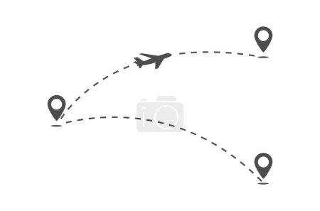 Illustration pour Trajectoire des routes de vol de l'aéronef. L'avion vole d'un point à un autre. La ligne de mouvement de l'avion. Style simple - image libre de droit