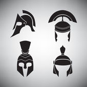 Set of helmets of different periods