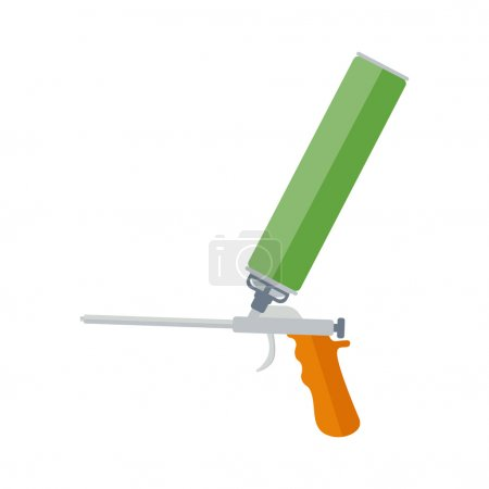 Foam gun flat vector illustration. The tool for repair and installation of plastic windows. Metal gun with yellow handle and foam cylinder. Foam gun isolated vector on  white background.