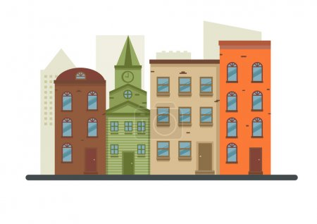 Illustration for Lovely detailed vector old town village main street illustration with retro victorian style building facades - Royalty Free Image