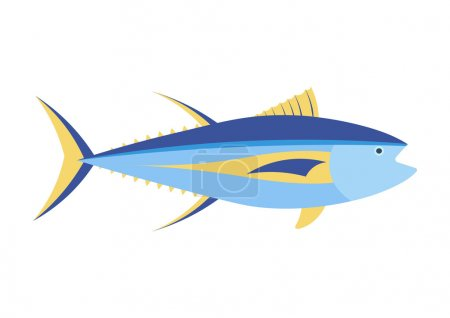 Yellowfin tuna vector cartoon illustration. Yellow...