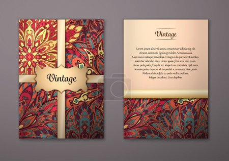 Illustration for Vintage cards with Floral mandala pattern and ornaments. Vector Flyer oriental design Layout template, size A5. Islam, Arabic, Indian, ottoman motifs. Front page and back page. Easy to use and edit. - Royalty Free Image
