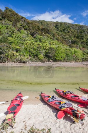 A view of the kayaks on the rafting river in New zealand