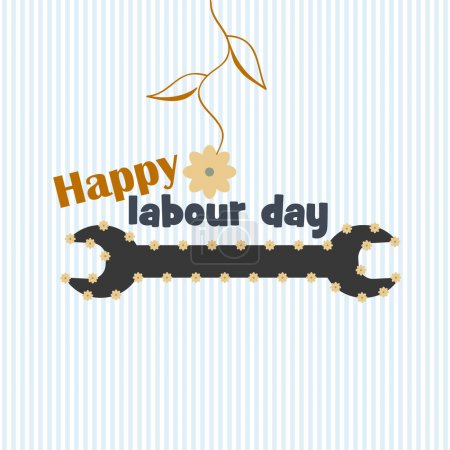 design card, wrench image, flowers, text, happy Labour day