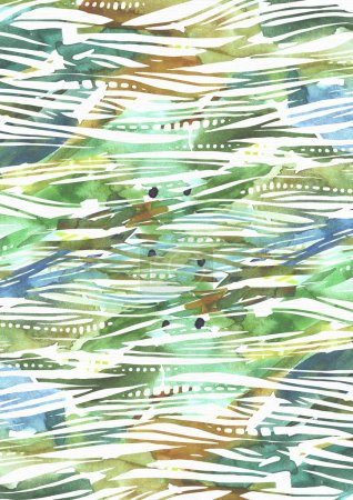 Abstract watercolor background with green and blue brush strokes in stripe texture hand drawn with freehand blobs, splashes and blank space. Vertical illustration with pattern good for presentations
