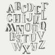 Hand-drawn ABC letters, isolated on white backgrou...