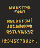 Vector cute colorful kind monster font Every letter has unique design with fur eyes nose mouth and teeth Some have crowns and legs Letters from A to Z digits from 0 to 9 and punctuation marks