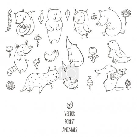 Vector illustration with cute and naive forest animals. Hand drawn black and white set, decorated with flowers and birds, isolated on white. Bear, fox, raccoon, squirrel, owl, beaver, lynx, bunny, pig