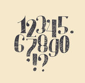 Hand drawn black numbers from 0 to 9 and punctuation marks with serif and hatch Isolated on beige background sequuence made in freehand design with nib and hatch Vector branding illustration