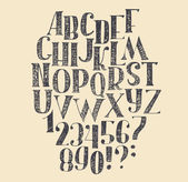 Vector hand drawn font based on english hand drawn abc from a to z and numbers from 0 to 9 Capital font made with nib and serif decorated hatch freehand alphabet  Isolated vector illustration