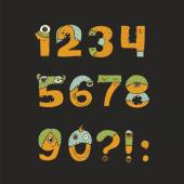 Vector cute kind monster numbers set Yellow blue green Every digit has unique design with fur eyes nose mouth and teeth Digits from 0 to 9 and punctuation marks isolated on black background