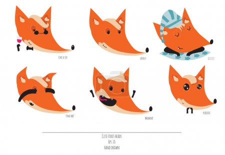 Cute vector set of playful foxes heads with various emotions. Sleepy, woohoo, hiding, please, like a sir, Hand drawn cute illustration isolated on white background.