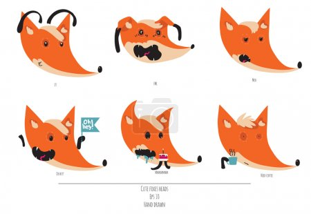 Cute vector set of playful foxes heads with various emotions. Oh hey, love you, meh, fml, need coffee. Hand drawn cute illustration isolated on white background.