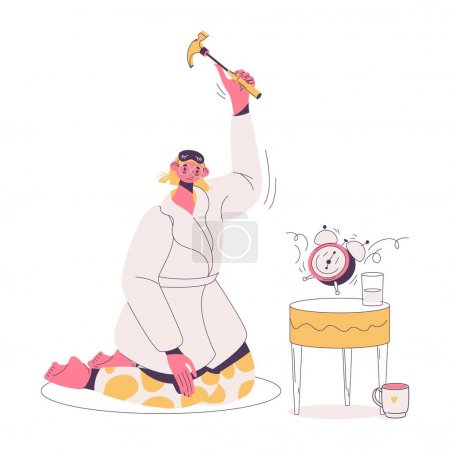 Woman with insomnia smashes alarm clock with hammer. Concept illustration with sad female character in bathrobe sleepy in the morning.