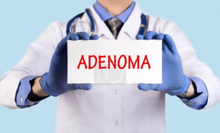 Doctor keeps a card with the name of the diagnosis - adenoma