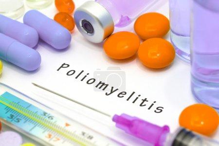 Poliomyelitis - diagnosis written on a white piece of paper