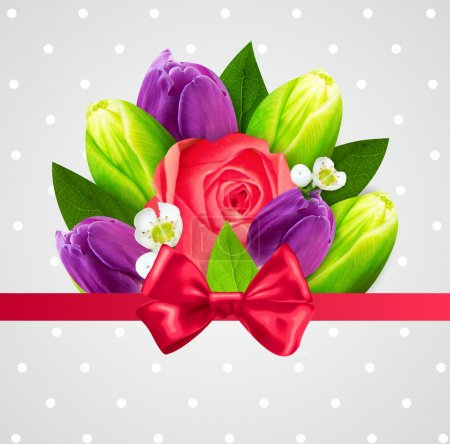 beautiful flowers composition card