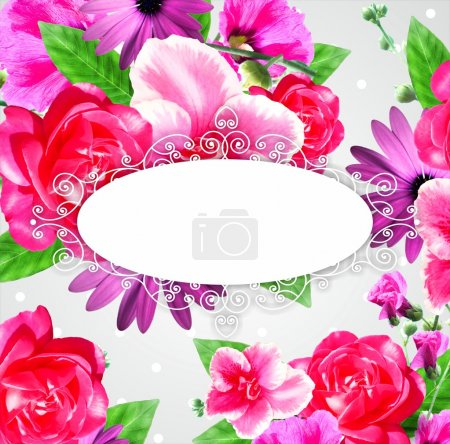 Design elements, frame. Can use for birthday card, wedding invitations.flowers composition