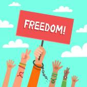 Colorful flat background with a lot of hands of young people with placard freedom