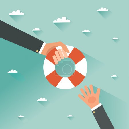 Illustration for Helping Business to survive. Drowning businessman getting lifebuoy from another businessman. Business help, support, survival, investment concept. Vector colorful illustration in flat style - Royalty Free Image