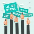 Men hands holding signs with text Vacancy, Job, We...
