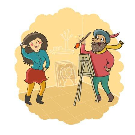 Funny girl posing to painter artist