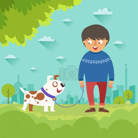 Illustration pour Garçon promenant son chien mignon. Garçon avec un chien marchant le long du parc sur fond de ville. Illustration vectorielle colorée avec caractère masculin dans un style plat - image libre de droit