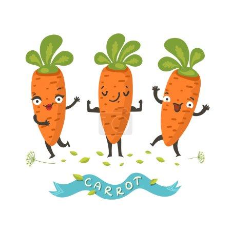 """Illustration pour Personnages joyeux de carottes posant et agitant avec le ruban """"Carotte"""". Illustration vectorielle colorée dans un style plat isolé sur blanc. Bon pour café, menu, logo ou histoires de livres . - image libre de droit"""