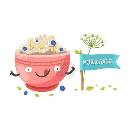 Cute oatmeal bowl character