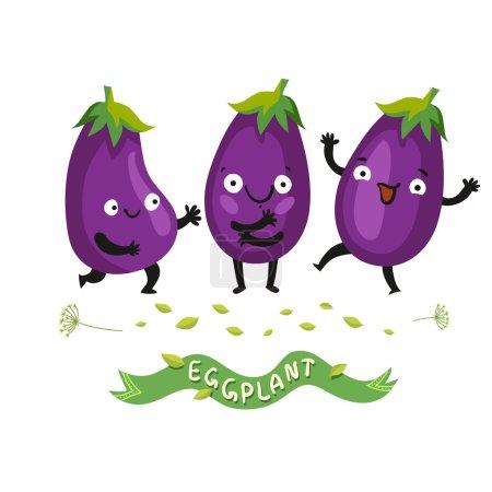 Ripe fresh eggplants or aubergines set