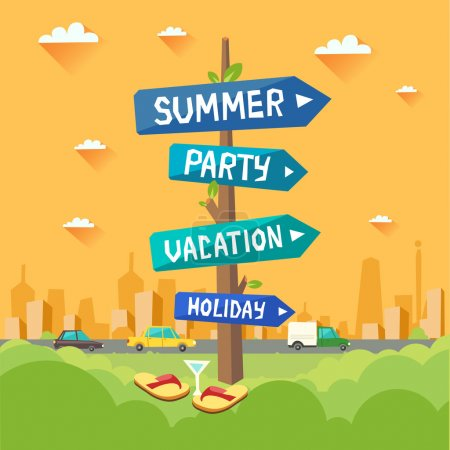 Illustration for Colorful holiday background. Highway road signs with Summer, Party, Vacation, Holiday arrows on city background. Vector colorful illustration in flat style - Royalty Free Image