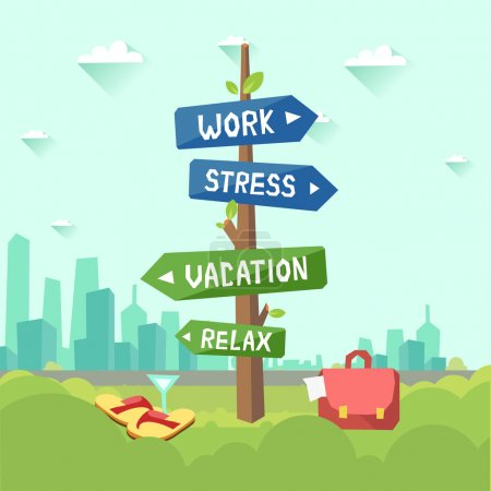 Illustration for Road signs with words Work, stress and Vacation, relax, case with documents or sandals and cocktail - Royalty Free Image
