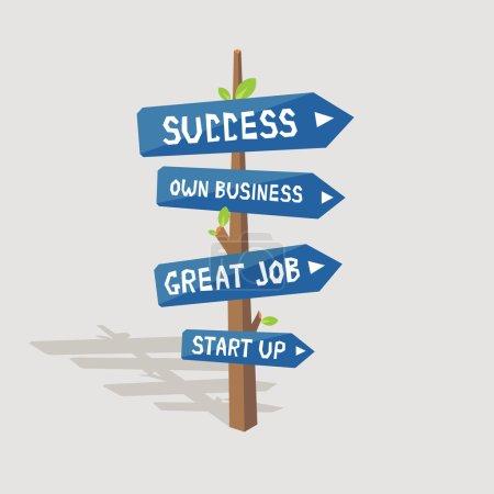 Illustration pour Panneaux routiers d'affaires réussis, succès, propre entreprise, excellent travail, démarrage - image libre de droit