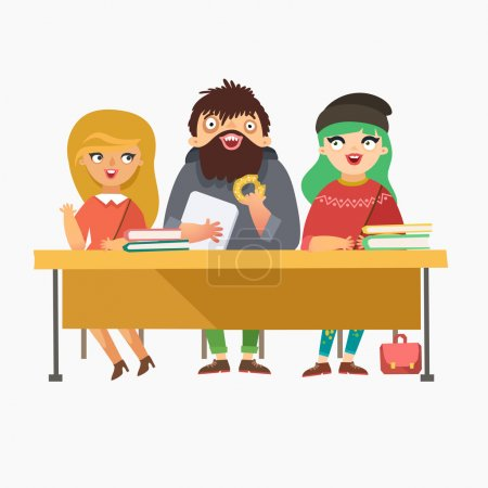 Illustration for Students sitting at the desk with books and laptop. Funny characters in flat style. Vector colorful illustration - Royalty Free Image