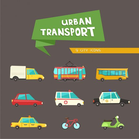 Transport flat vector icons