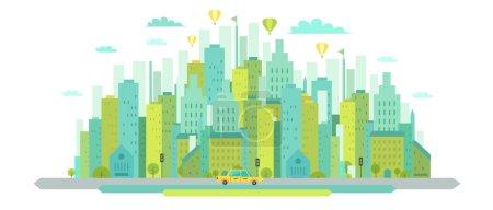 Illustration for Urban landscape in flat design. Vector illustration in modern blue green colors. - Royalty Free Image