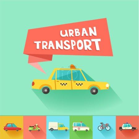 Urban transport flat icons.
