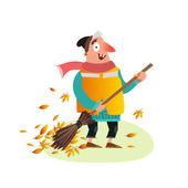 Happy Yardman sweeping autumn leaves