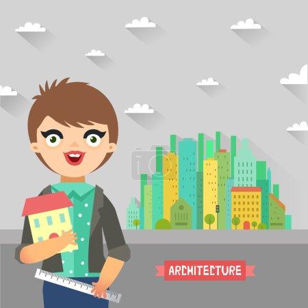 Architect holding ruler