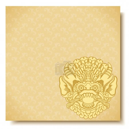 Square banner with Barong head. Balinese traditional ornament. Gold background.