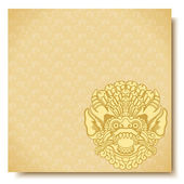 Square banner with Barong head Balinese traditional ornament Gold background