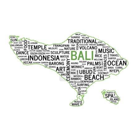 Word Cloud, Bali map shape. Vector illustration.