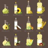 12 cooking oils in bottle Healthy oil from canola coconut sesame soybean sunflower safflower palm olive grape seed rice bran and avocado