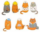 Sada znaků Kreslená kočka. Kolekce povolání
