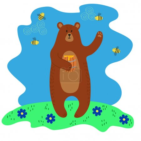 Happy cute brown bear holding the barrel with hone...