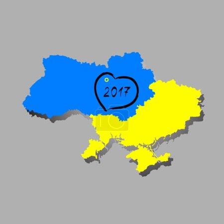Ukraine vector map winner of the Eurovision 2016