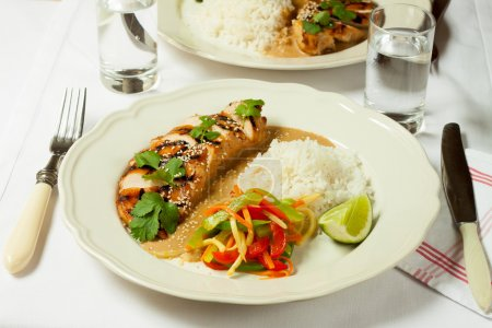 Turkey fillet with rice and bell pepper salad