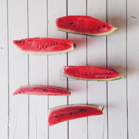 Pieces of watermelon at white background