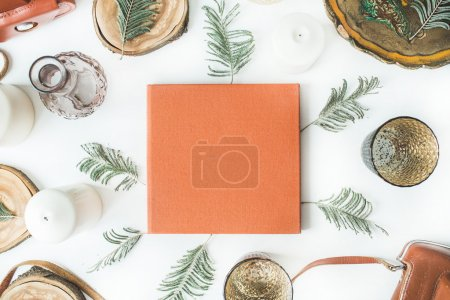 orange wedding or family photo album