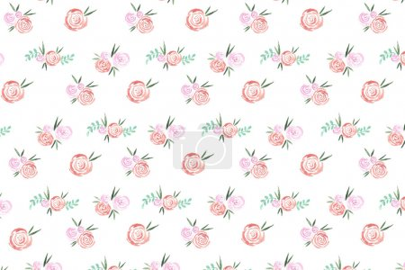 Red roses pattern painted